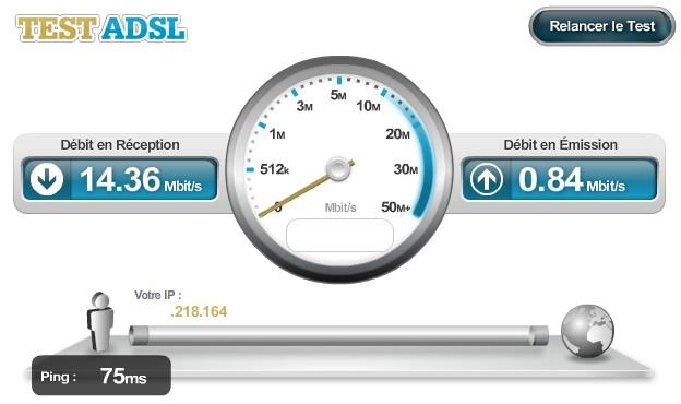 Test de débit ADSL